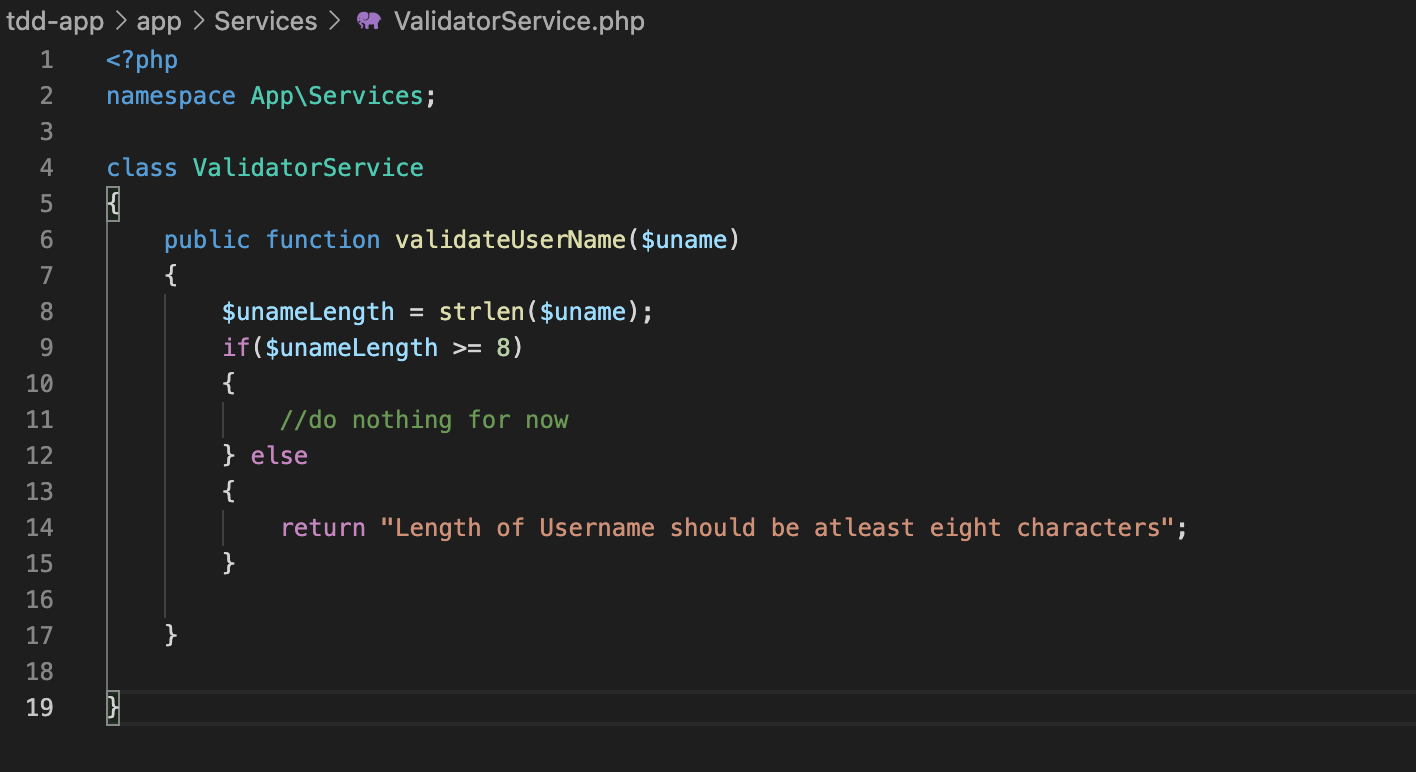 actual code for the functionality